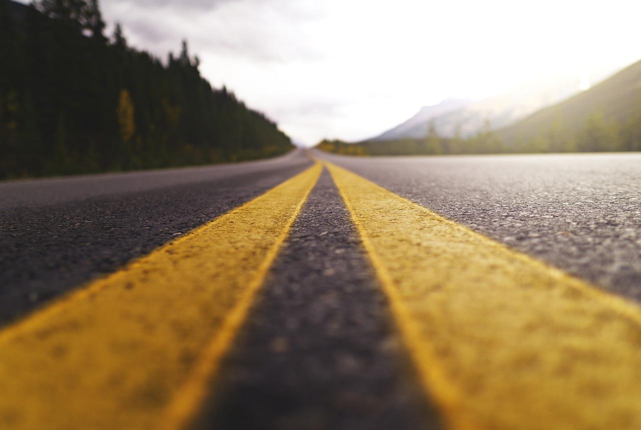 trend viaggio: foto di strada nella foresta con in prospettiva l'orizzonte